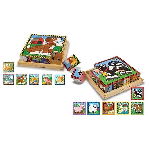 Melissa & Doug® Wooden Cube Puzzles Set - Pets and Farm 32pc - image 1 of 5
