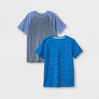 Boys' 2pk Short Sleeve Shark Print T-Shirt - Cat & Jack™ Blue