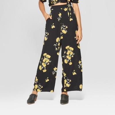 Women's Floral Print Wide Leg Palazzo Pants   Xhilaration Black by Xhilaration Black