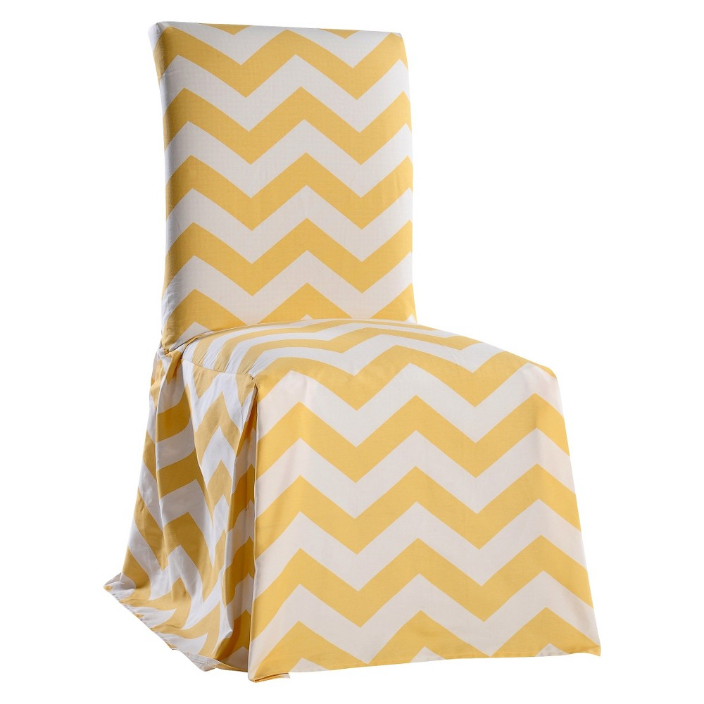Image of Yellow/White Chevron Dining Chair Slipcover