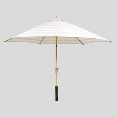 9' Round Cabana Stripe Patio Umbrella Tan - Light Wood Pole - Threshold™