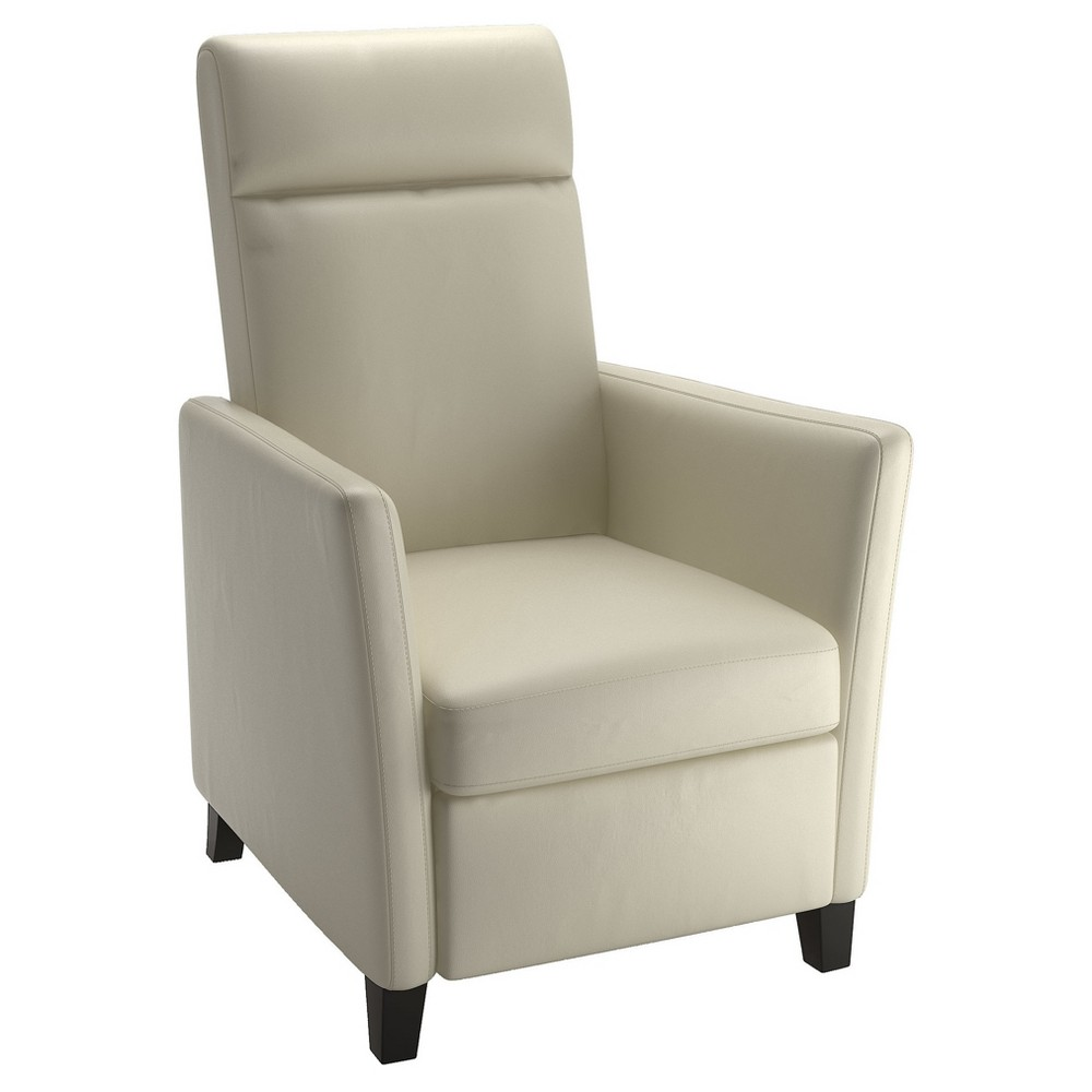 Elise White Bonded Leather Recliner - Corliving