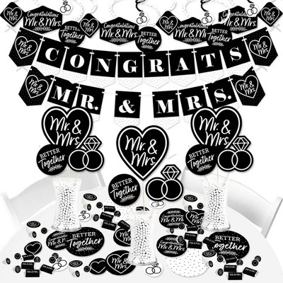 Big Dot of Happiness Mr. and Mrs. - Black and White Wedding or Bridal Shower Supplies - Banner Decoration Kit - Fundle Bundle