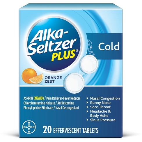 Alka-Seltzer Plus Cold Formula Effervescent Tablets - Orange Zest - 20ct - image 1 of 1