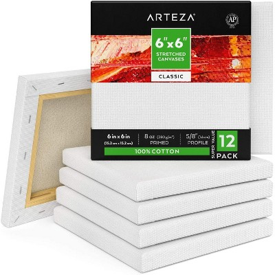 "Arteza Stretched Canvas, Classic, 6"" x 6"" - 12 Pack"