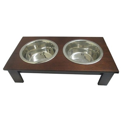 Hardwood Double Cat and Dog Bowl - Brown - 3.75 Cups - Boots & Barkley™