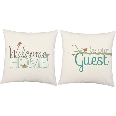 Set Of 2 Welcome Home Be Our Guest Throw Pillows 18x18 Square White Indoor Outdoor Cushions Roomcraft Target