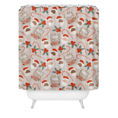 Dash and Ash Peppermint Mocha Shower Curtain Brown/Red  - Deny Designs