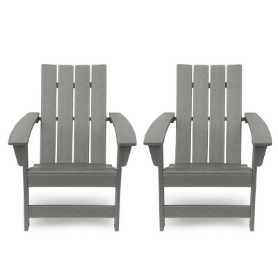 Encino 2pk Resin Contemporary Adirondack Chairs - Gray - Christopher Knight Home