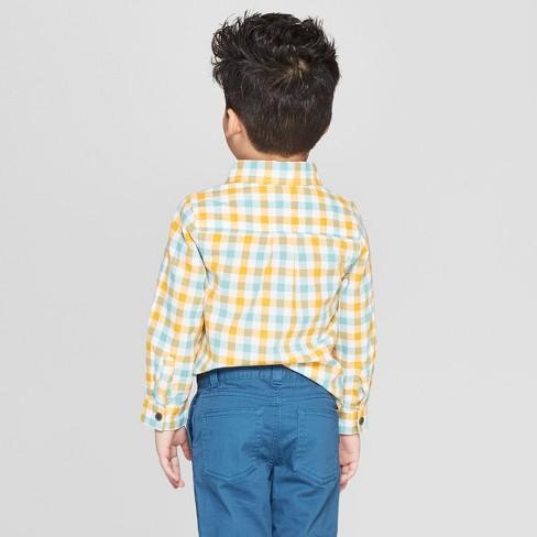 9a1851320 Toddler Boys' Plaid Long Sleeve Button-Down Shirt - Cat & Jack™ Yellow/Blue