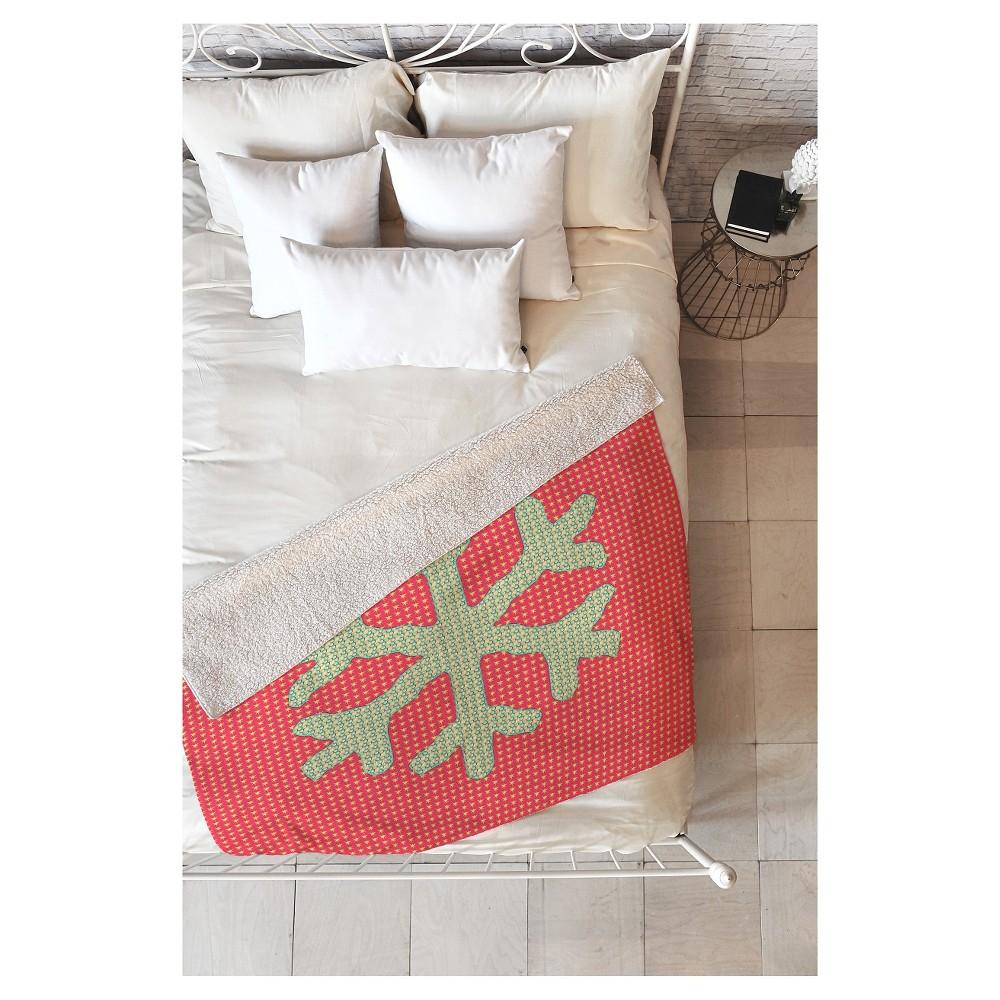 Red Nature Ingrid Padilla Snowflake Sherpa Throw Blanket (50
