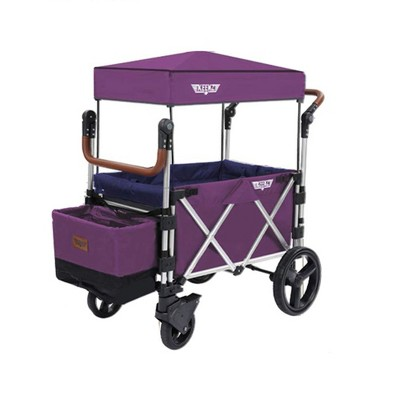 Keenz 7S Push Pull Baby Collapsible Folding Wheeled Stroller Wagon with Protective Canopy Cover, Cupholder, and Cooler for 2 Toddler Kids, Purple