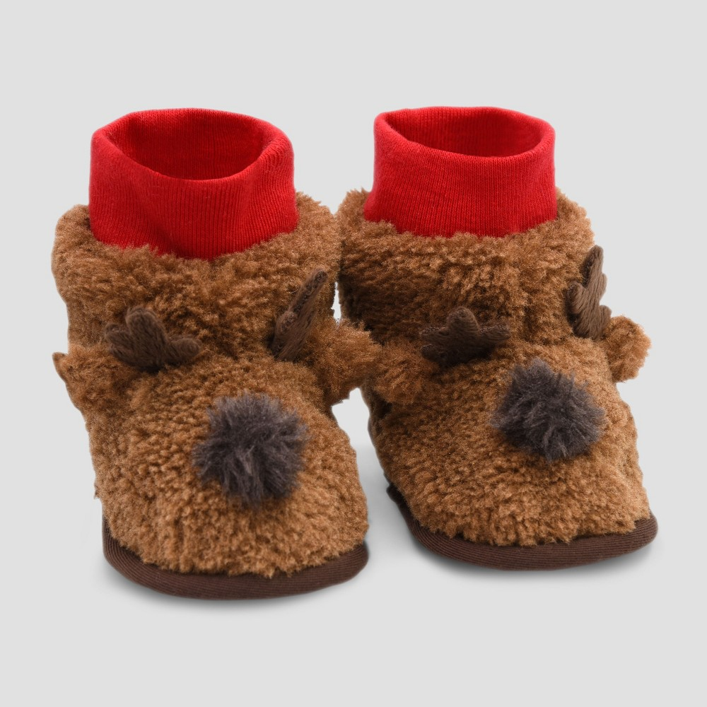 Image of Baby Slipper Boots - Cat & Jack Brown 6-9M, Kids Unisex, Size: Small