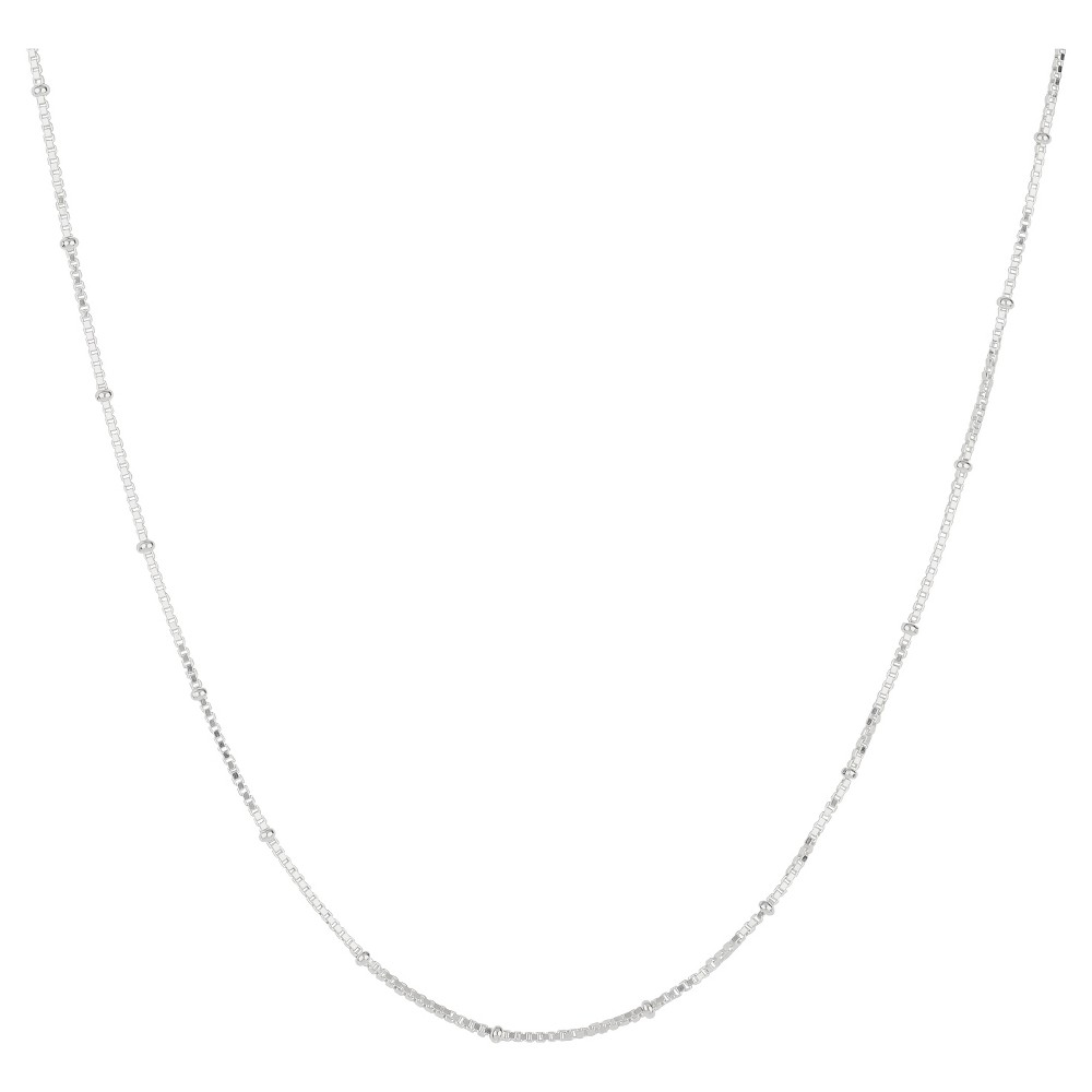 """Image of """"Box Chain Necklace with Crimp Beads in Sterling Silver - 16"""""""", Women's, Size: Small"""""""