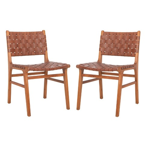 Set of 2 Taika Woven Leather Dining Chair Cognac/Natural - Safavieh - image 1 of 4