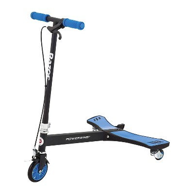 Razor PowerWing 125mm 3 Wheel Inclined Portable Caster Powered Stand Ride Scooter with Adjustable Foam Handlebars, Kids Ages 6 and Up, Blue