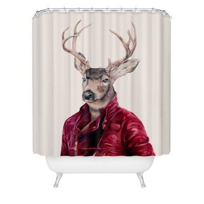 Animal Crew Red Deer Shower Curtain Red - Deny Designs