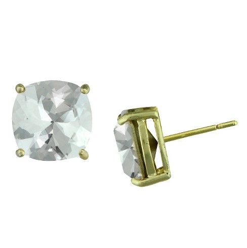 Women's Gold Plated Cushion Crystal Stud Earring - White - image 1 of 1