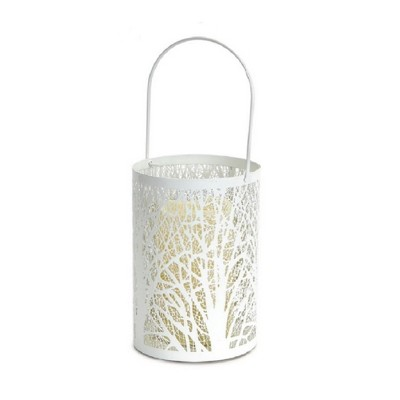 """Melrose 8"""" Prelit LED Battery Operated Tree Patterned Candle Lantern with Timer - White"""