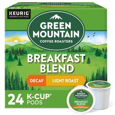 24ct Green Mountain Coffee Breakfast Blend Decaf Keurig K-Cup Coffee Pods Decaffeinated Light Roast