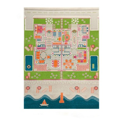IVI World 3D Play Carpet 71 x 52.5 Inch Educational Beach House Soft and Cozy Floor Rug Mat for Bedroom, Kids Den, or Playroom, Large
