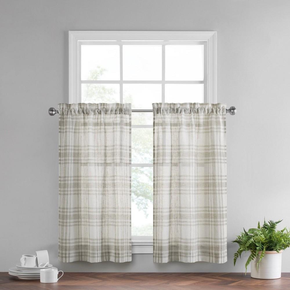 Set Of 2 24 34 X52 34 Featherdown Curtain Tiers Beige Vue
