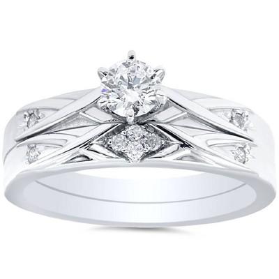 Pompeii3 1/3ct Diamond Engagement Wedding Ring Set 14K White Gold