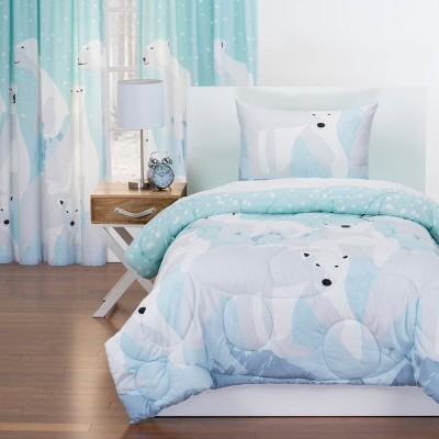 Twin White Bear Reversible Comforter with Sham Blue - Crayola