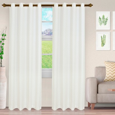 Geometric Diamond Trellis Room Darkening Semi-Sheer Jacquard Grommet Curtain Panel Set by Blue Nile Mills