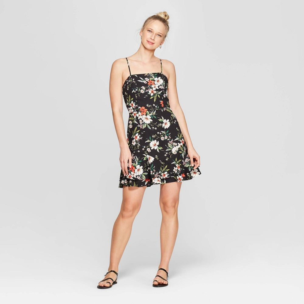 0eeedf0f607 Womens Floral Print Strappy Square Neck Dress With Bottom Ruffle ...