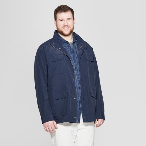 Men's Big & Tall Synthetic Four Pocket Bomber Jacket - Goodfellow & Co™ Navy - image 1 of 2