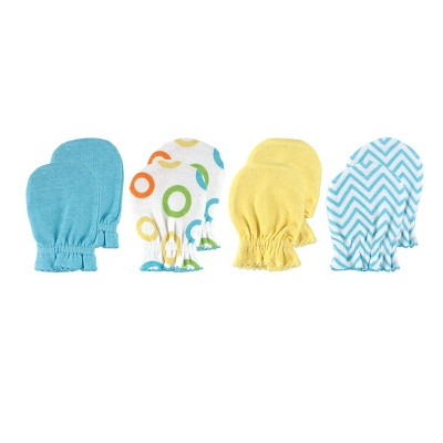 Luvable Friends Baby Cotton Scratch Mittens 4pk, Yellow Solid, One Size