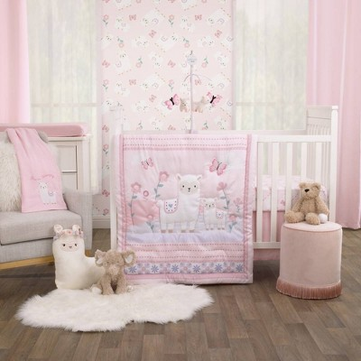Little Love By Nojo Sweet Llama and Butterflies Crib Bedding Set - 3pc
