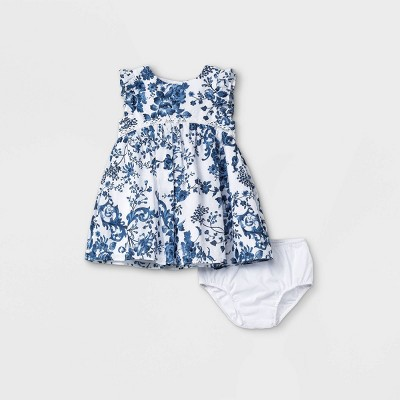 Baby Girls' Mia & Mimi Clipspot Dress - Blue 3-6M