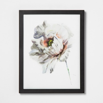 11  X 14  White Flower Wall Art with Black Wood Frame - Hearth & Hand™ with Magnolia