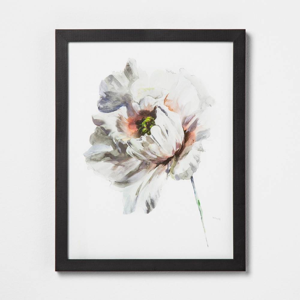 """Image of """"11"""""""" X 14"""""""" White Flower Wall Art with Black Wood Frame - Hearth & Hand with Magnolia"""""""