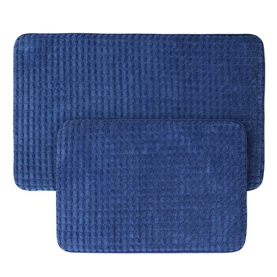 Jacquard Memory Foam Bath Mat Set Navy - Yorkshire Home