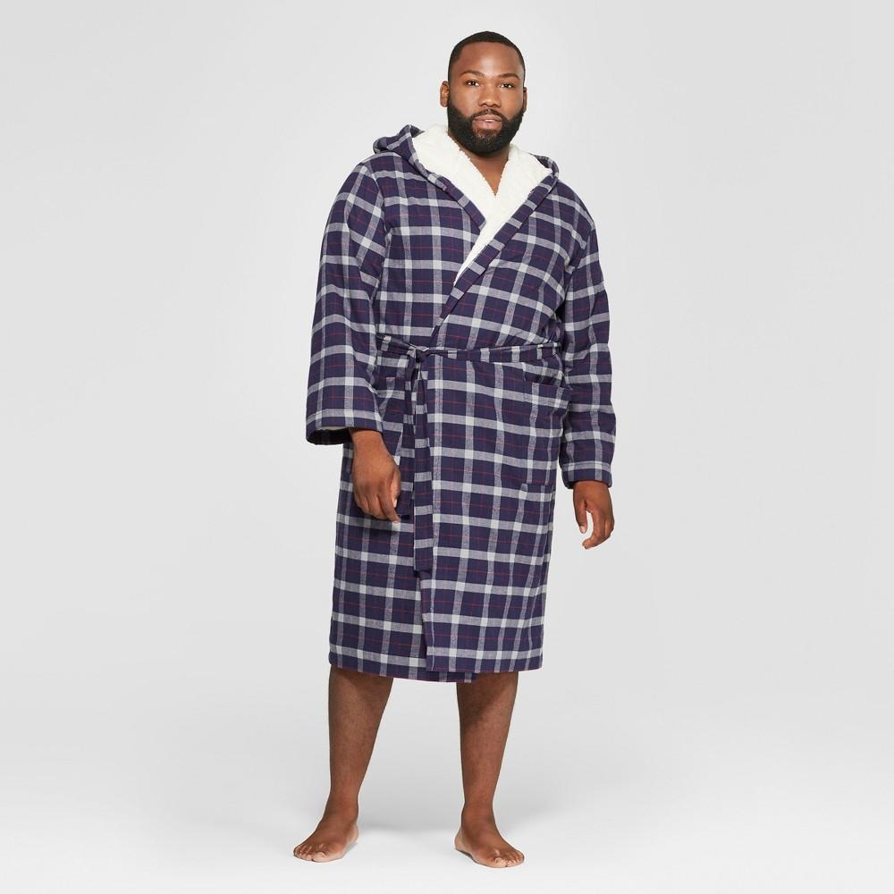 Men's Big & Tall Plaid Sherpa Robe - Goodfellow & Co Blue 4XB/5XB