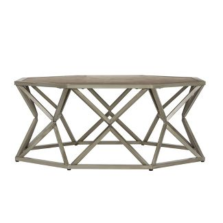 Travis Wood and Metal Octagonal Coffee Table Brown - Inspire Q