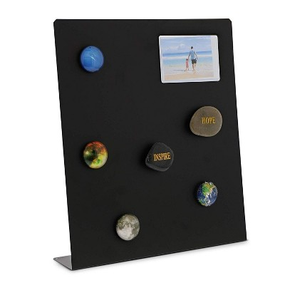 "Large Metal Magnet Board Magnetic Bulletin Board for Wall Tabletops Refrigerator Home Reception Office Restaurant, Black, 12.5"""