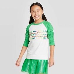 Girls' Rainbow Shamrocks Pullover Sweater - Cat & Jack™ White/Green