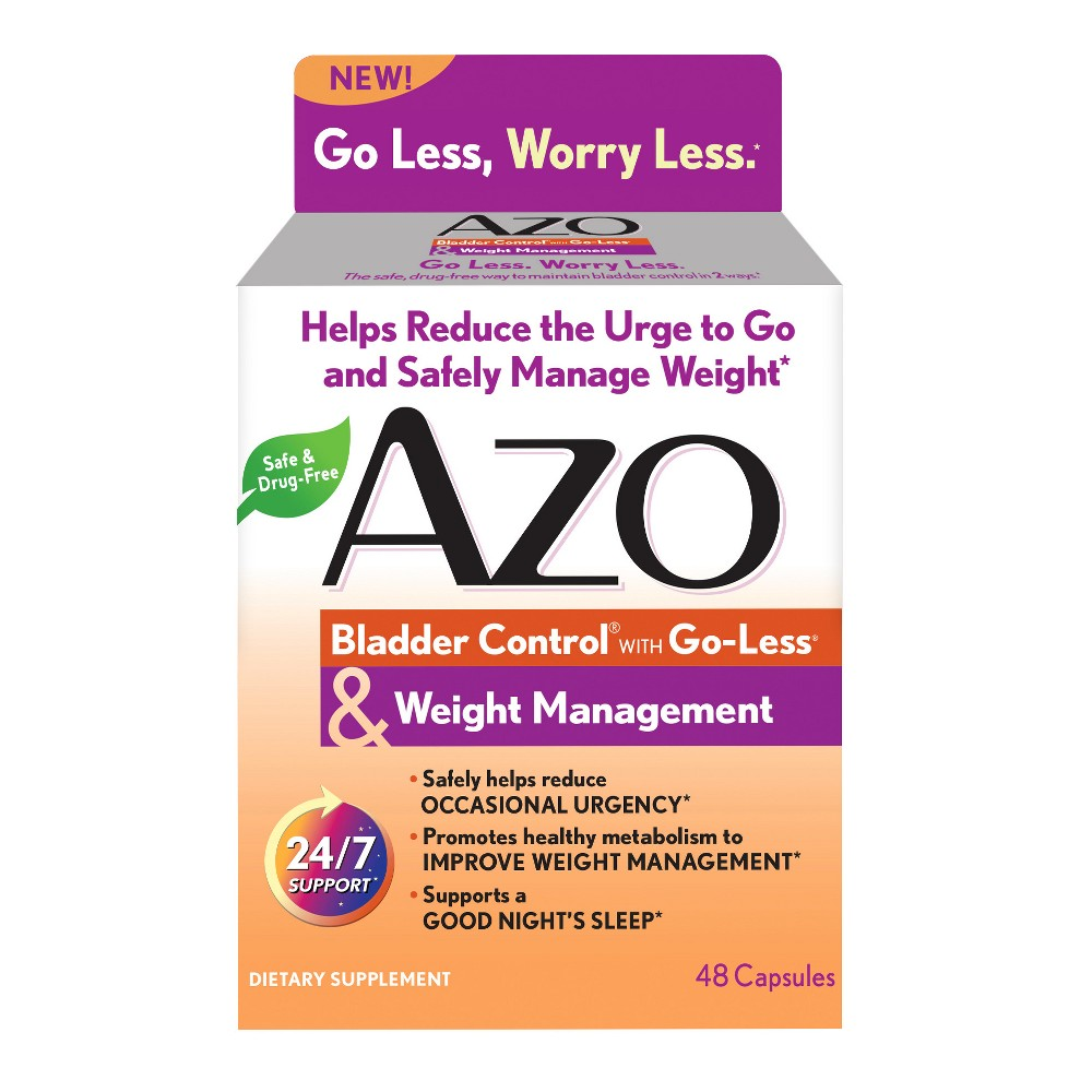 Azo Bladder Control Plus Weight Management Capsules - 48ct The naturally sourced blend of ingredients in Azo Bladder Control and Weight Management help support your bladder in two ways so that you can feel in-control both day and night. The Go-Less blend with pumpkin seed and soy germ supports bladder health to help control the need to go to the bathroom and reduce occasional urgency. Clinically studied Synetrim CQ, from the Cissus quadrangularis plant, supports serotonin balance to help promote metabolic health to support healthy weight management. The result is a safe and effective way to maintain bladder control from the inside out.