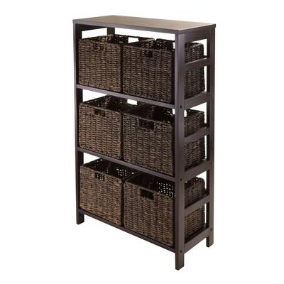 7pc Granville Set Storage Shelf with Baskets Espresso Brown - Winsome