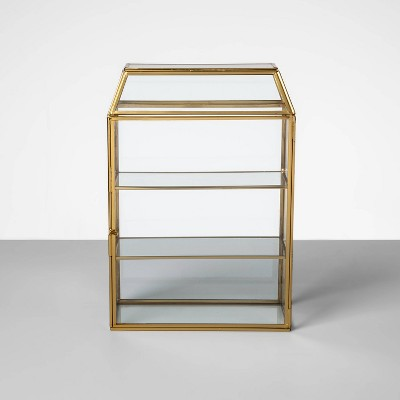 """12.3"""" x 8.4"""" Glass and Brass Curio Box Display Case Gold - Opalhouse™"""