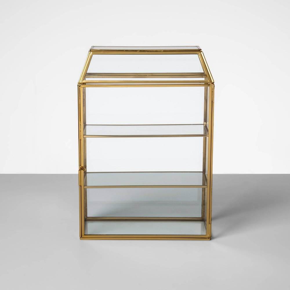 "Image of ""12.3"""" x 8.4"""" Glass and Brass Curio Box Display Case Gold - Opalhouse"""