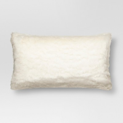 Cream Faux Fur Oversized Lumbar Pillow - Threshold™