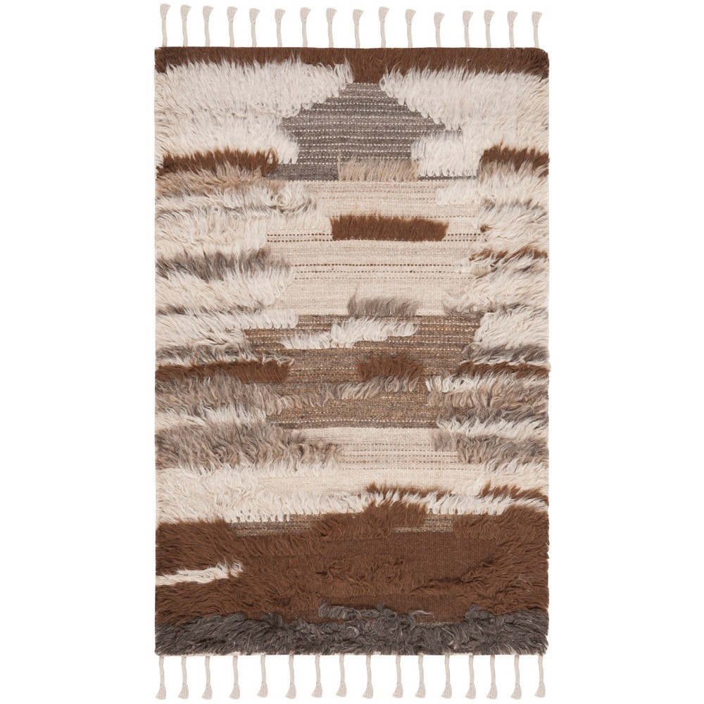 3'X5' Camouflage Knotted Accent Rug Gray/Brown - Safavieh