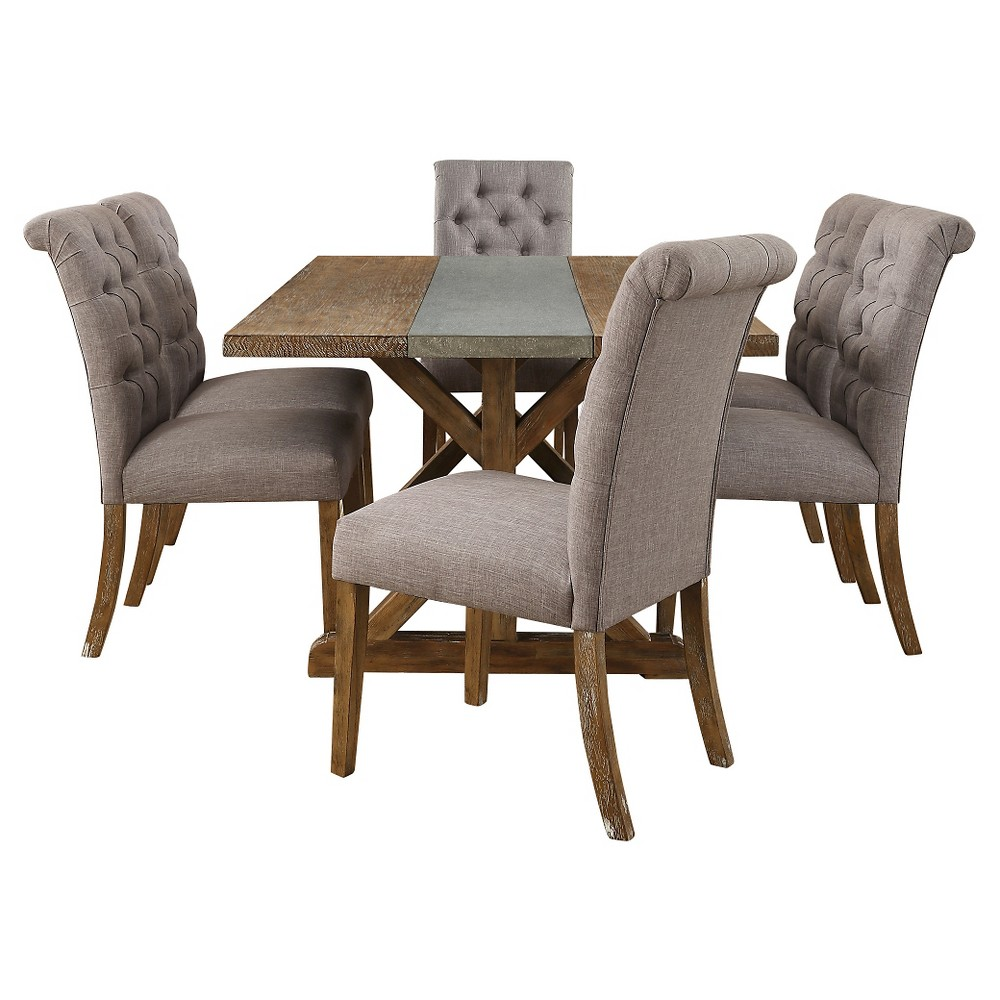 Sullivan 7-Piece Concrete Stripe Dining Set - Tufted Gray Linen