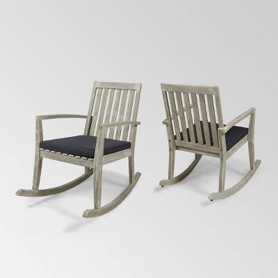 Montrose 2pk Acacia Wood Rocking Chair Light Gray/Dark Gray - Christopher Knight Home
