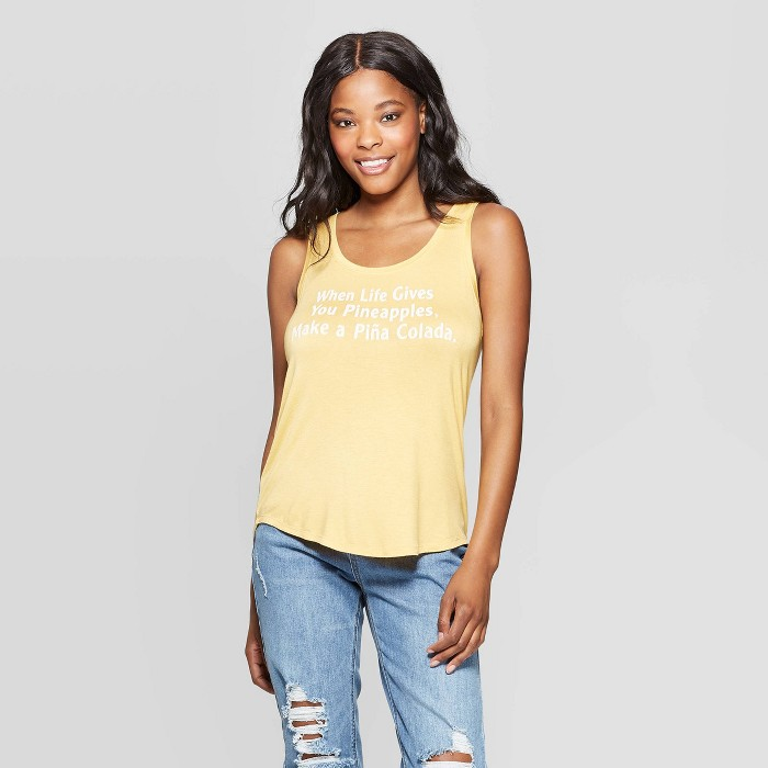 Women's Sleeveless When Life Gives You Pineapple Graphic Tank Top - Grayson Threads (Juniors') - Yellow - image 1 of 2